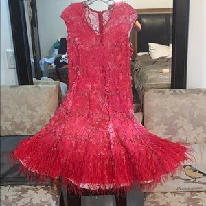 see-through feather dress with Nude undergarment
